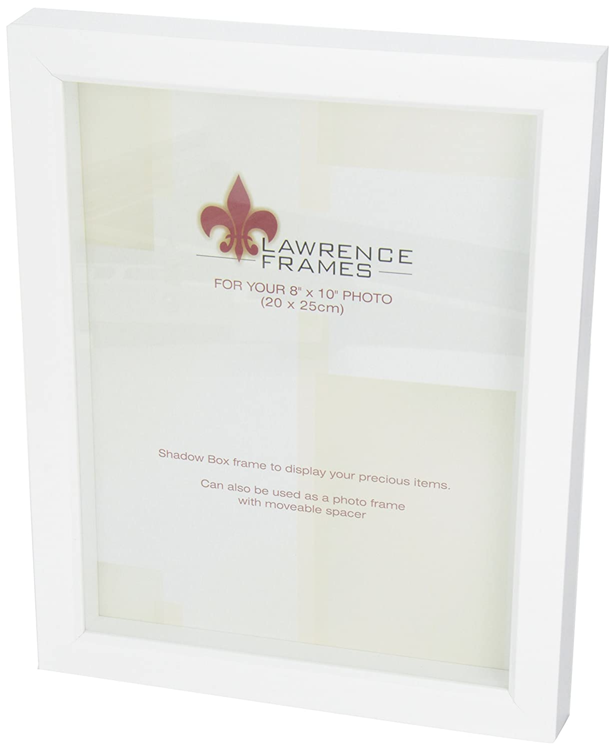 amazoncom lawrence frames white wood treasure box shadow box picture frame 8 by 10inch