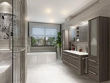 Badezimmer Möbel Set Mailand Eiche dunkel inkl. Doppel-Waschbecken ...