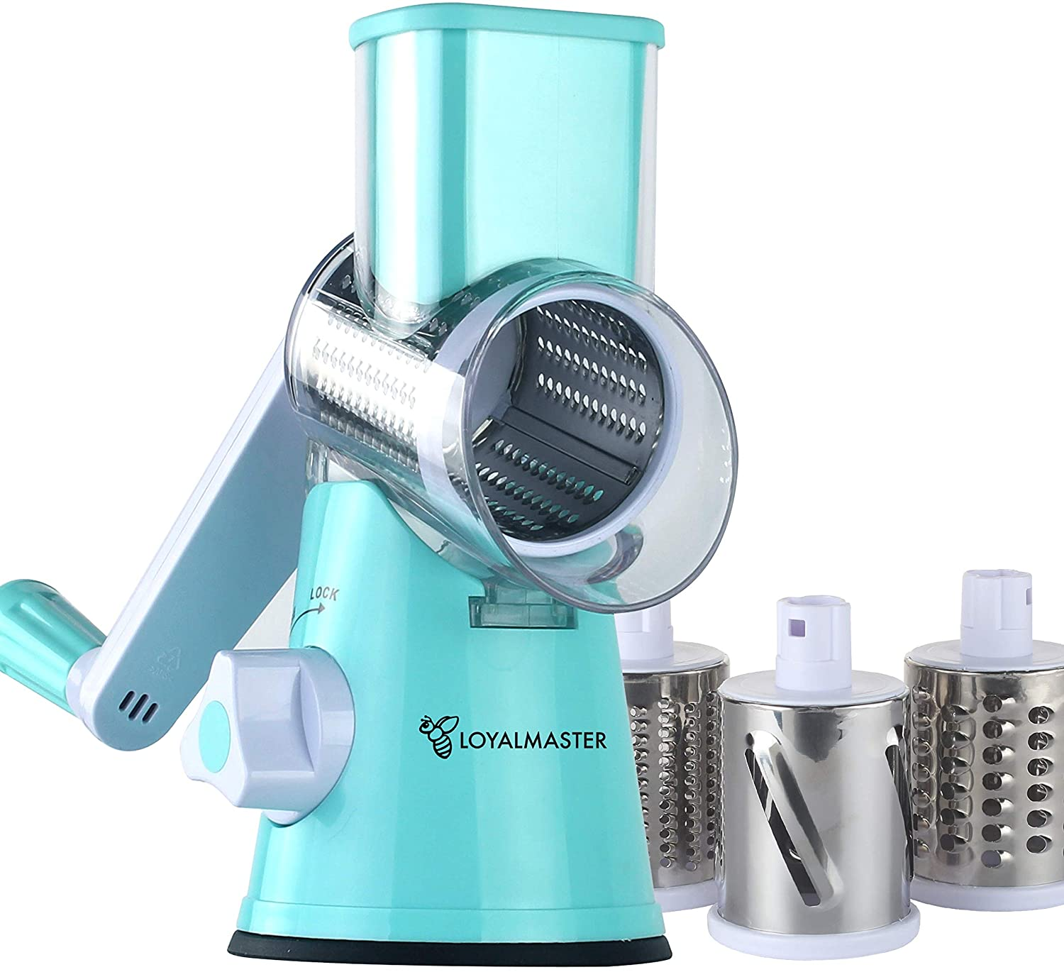 Rotary Grater Drum Slicer Shredder Grinder - Speed Round Mandoline for Vegetable, Cheese, Carrot, Potato, Nut - Tumbling Box with 3 Sharp Stainless Steel Drums - Strong Suction Base - LOYALMASTER
