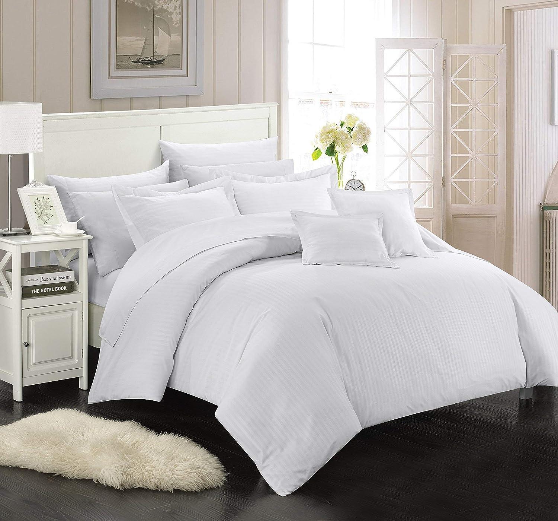 Chic Home 5 Piece Khaya Down Alternative Jacquard Striped Comforter Set, Twin, White