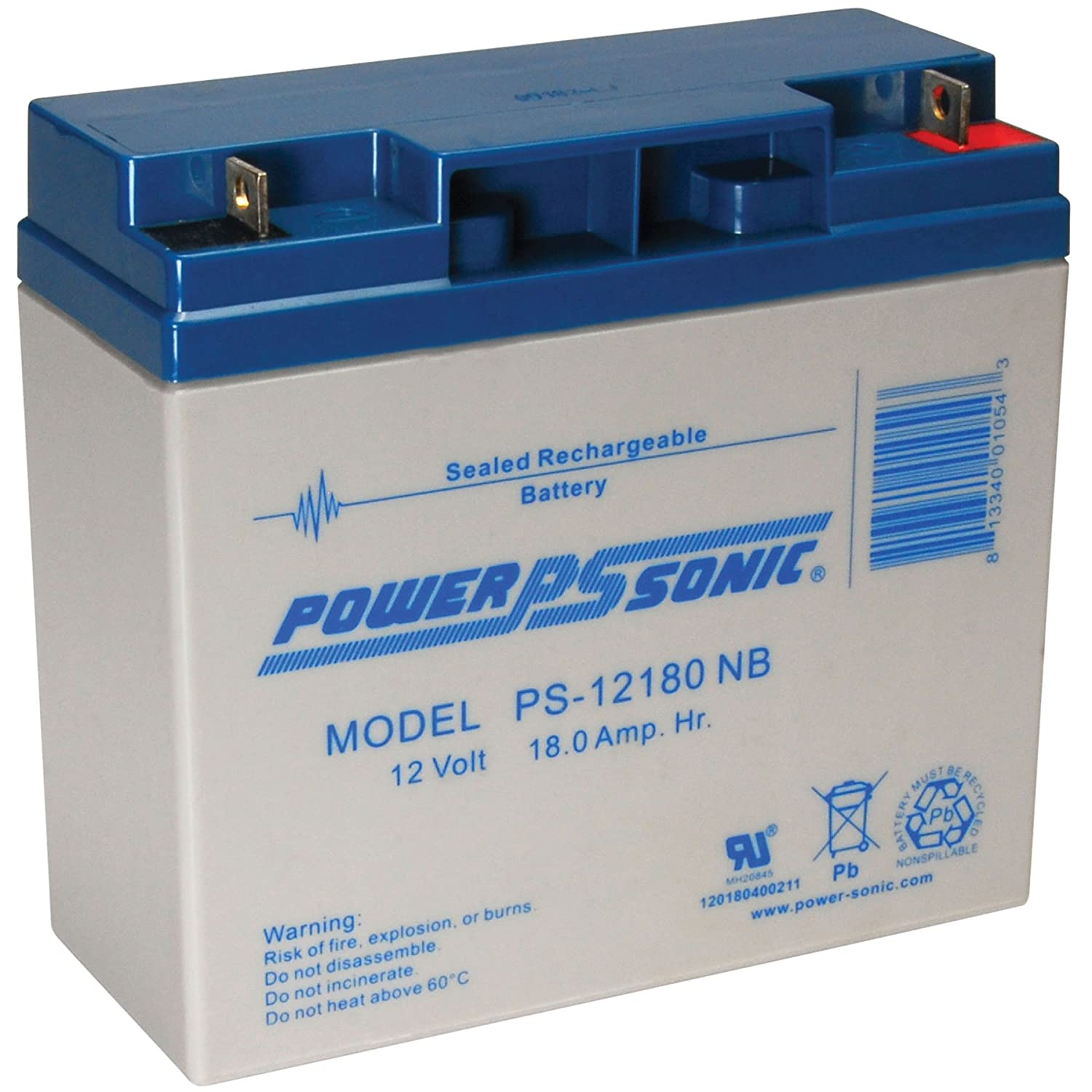 Power-Sonic Genuine PS-12180NB 12V 18 Ah Rechargeable SLA Battery