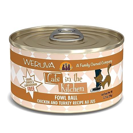 weruva cats in the kitchen fowl ball with chicken turkey au jus cat food
