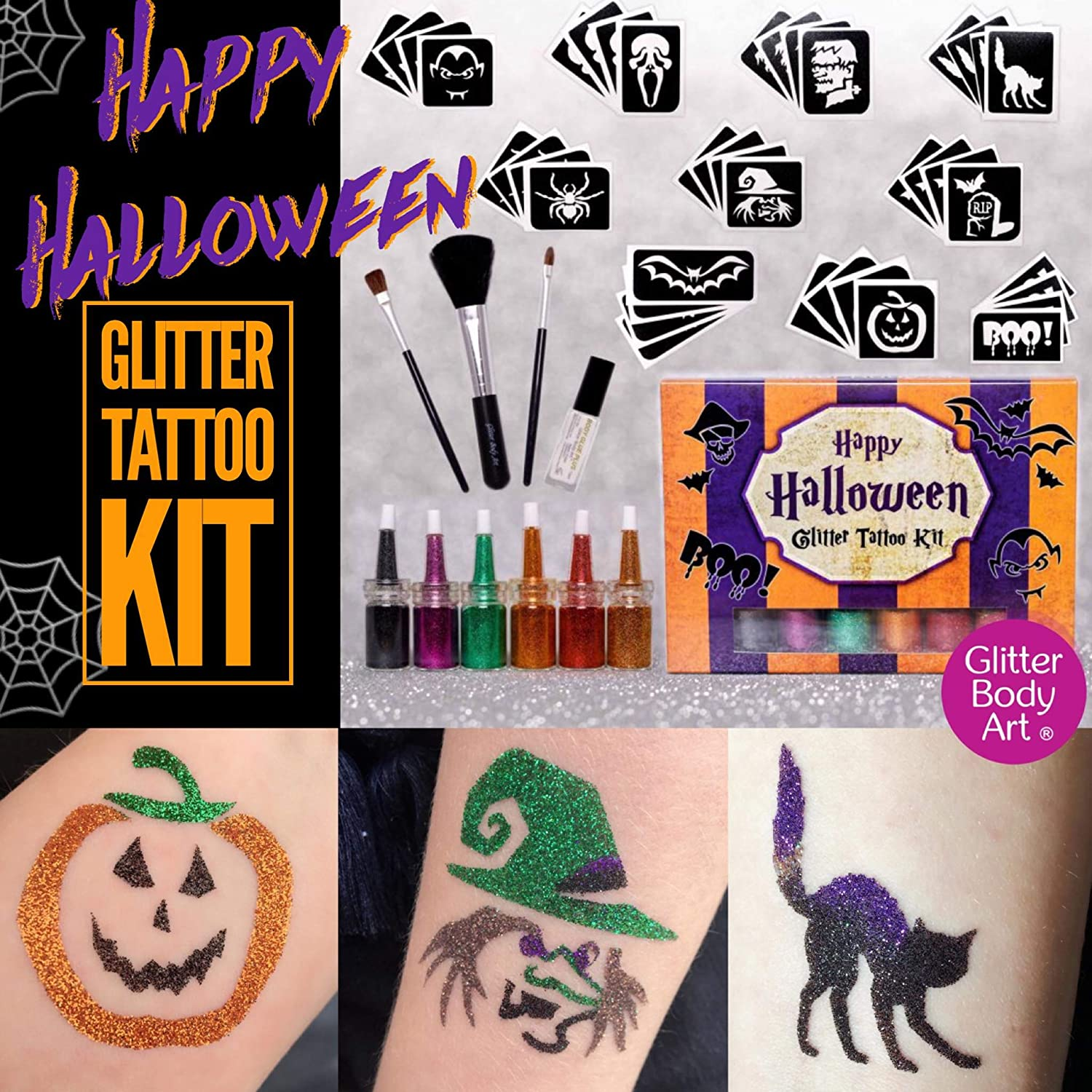Kit de tatuaje de purpurina para Halloween: Amazon.es: Juguetes y ...