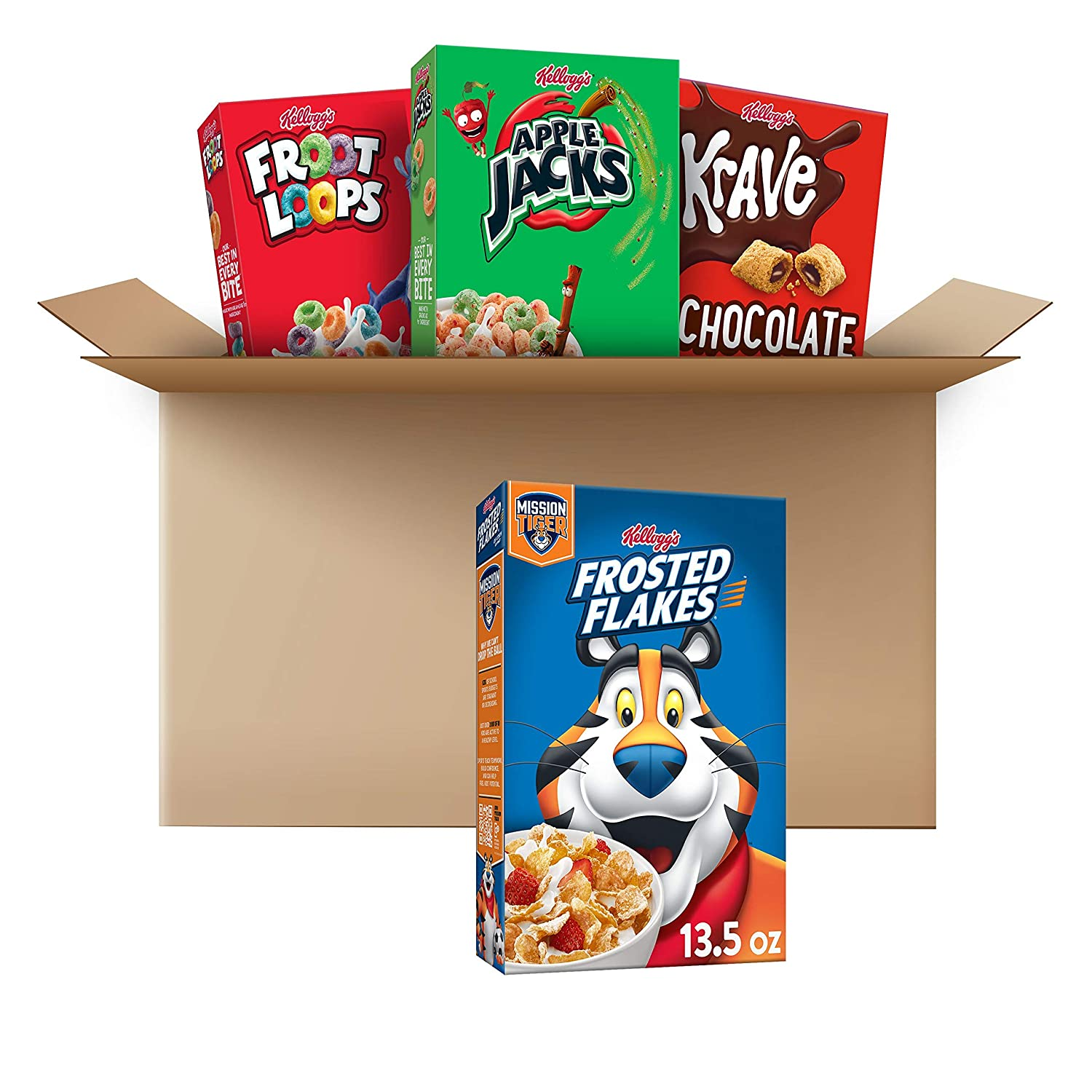 Kellogg's Breakfast Cereal, Variety Pack, Froot Loops 10.1 oz, Frosted Flakes 13.5 oz, Krave 11.4 oz, & Apple Jacks 10.1 oz