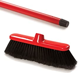 5 Foot Red Indoor Soft Sweeping Plastic Broom with a Screw in Handle, 2 Piece by COTTAM