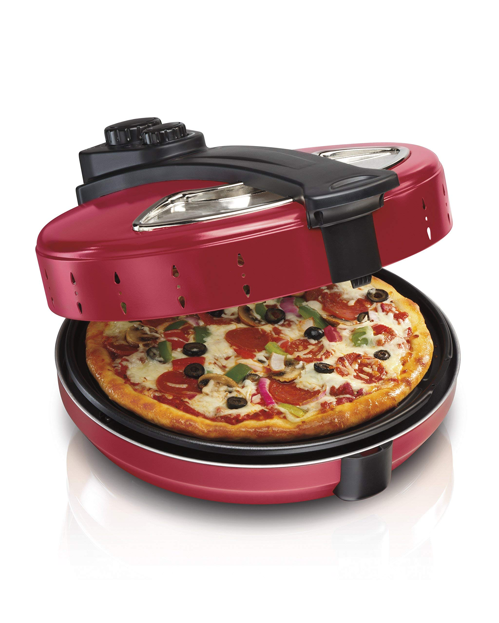 Hamilton Beach 31700, 12 Inch Cooker, Red Pizza Maker, (Renewed)