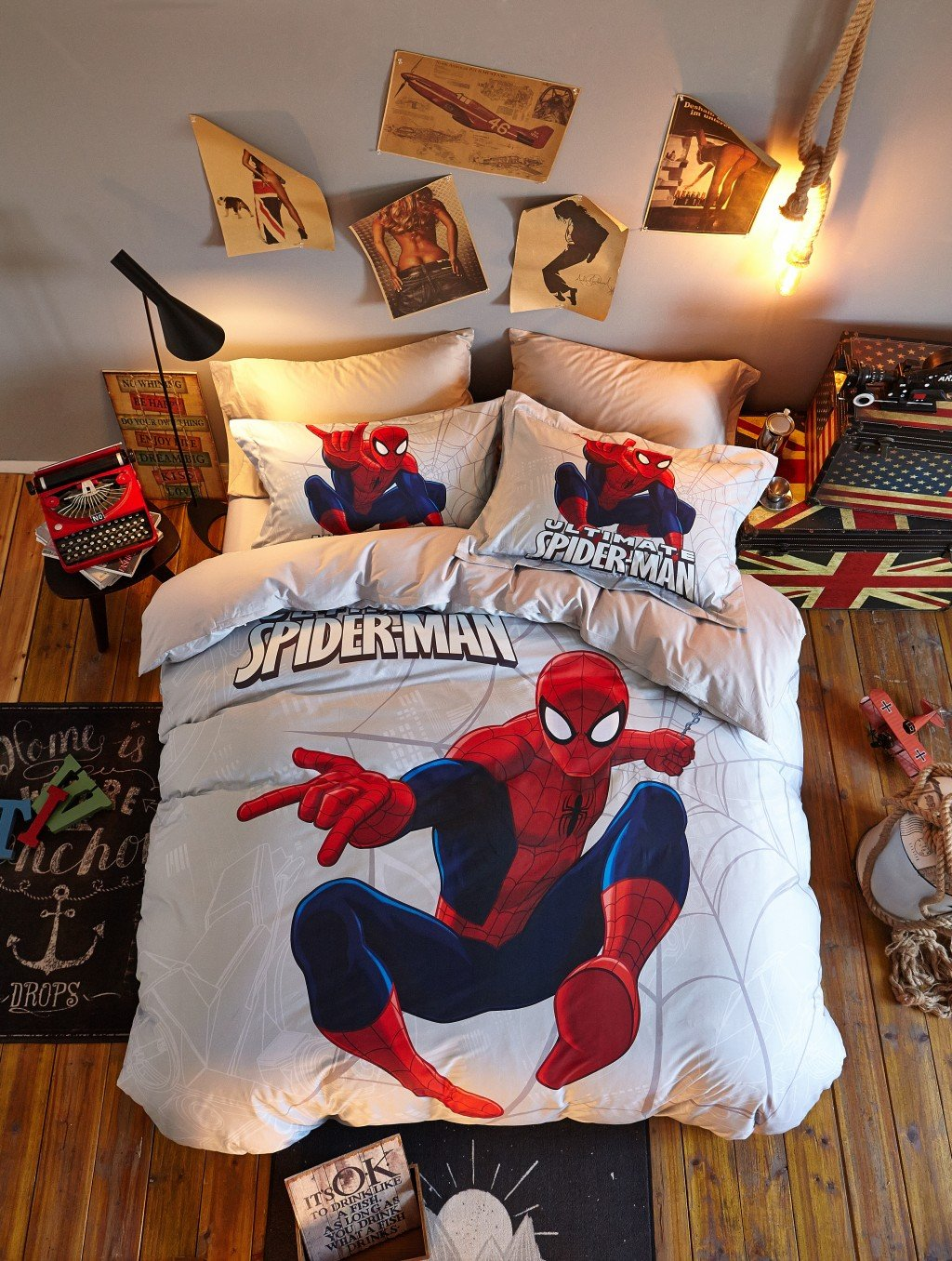 Haru Homie Luxurious 100% Cotton Duvet Cover 3D Spiderman Kids Reversible Bedding Set With Zipper Closure - Comfortable, Fade Resistant and Extremely Durable, Full/Queen