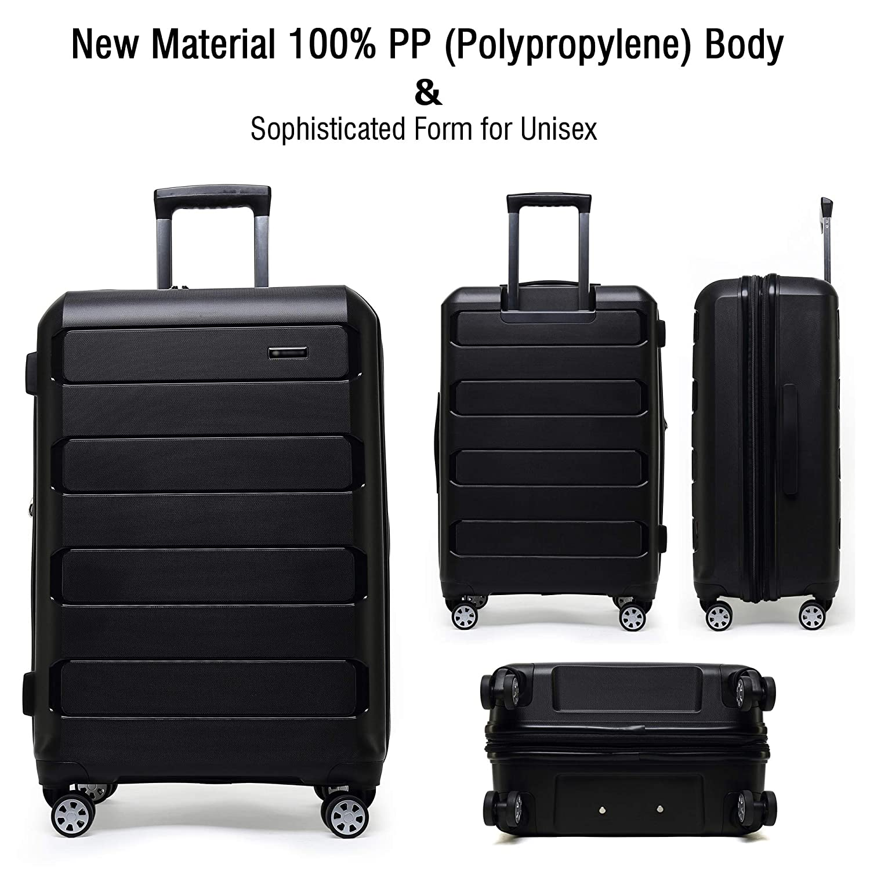 f0650003c0d9 Kroeus PP Suitcase Luggage Lightweight TSA Lock Spinner Wheels 24 Black