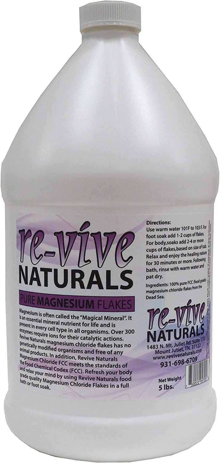Re-vive Naturals Magnesium Chloride Flakes 5 Lbs Food Grade Quality