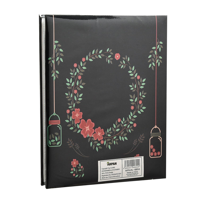 contiene 200 foto in formato 10/x 15/cm BLACK FLORAL album per le fotografie in design alla moda,/con copertina rigida a finestra Arpan
