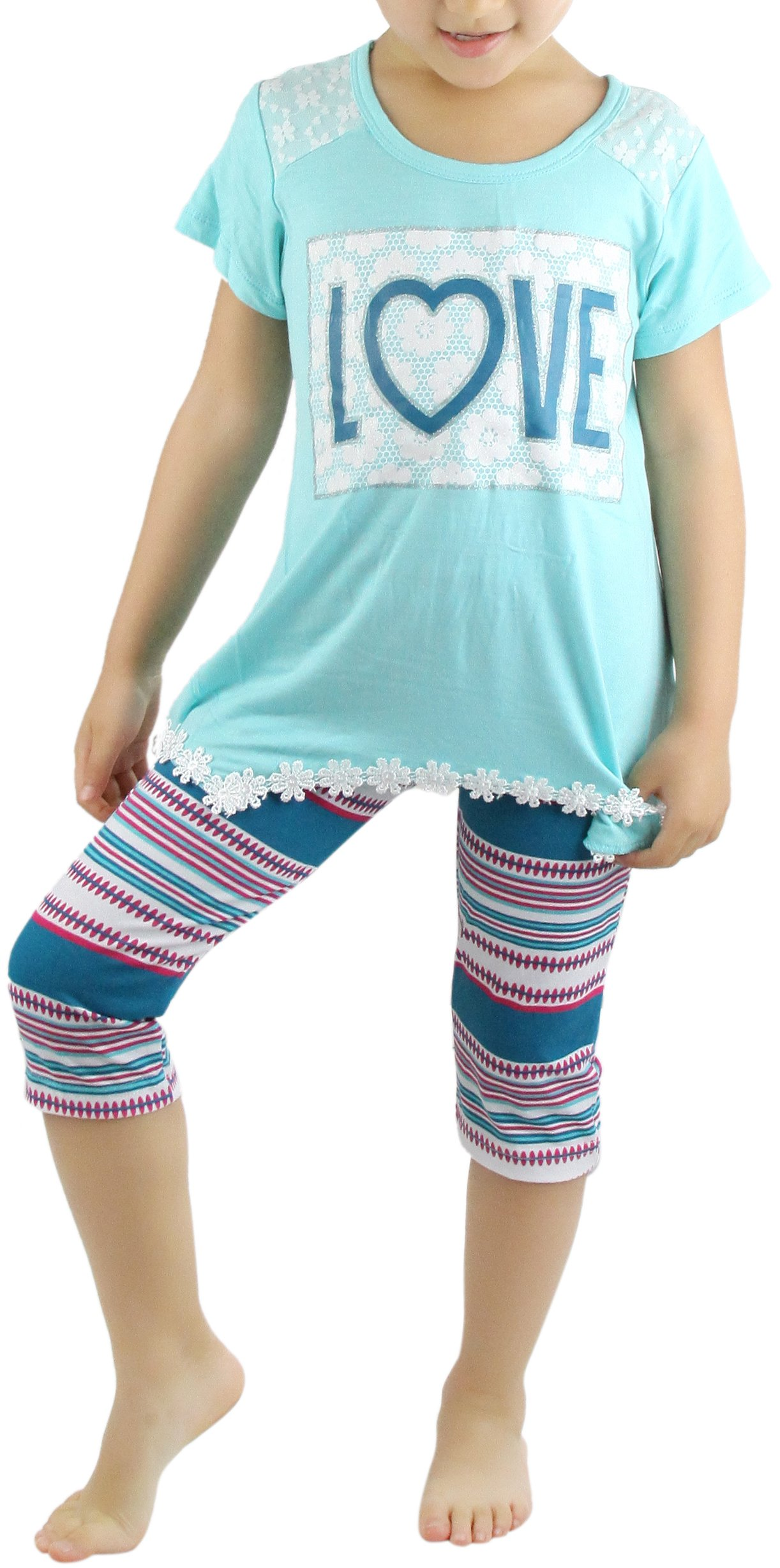ToBeInStyle Girl's Legging Set with Love Print Top - Mint - 4