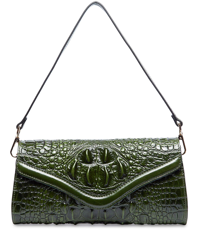 Pifuren Designer Crocodile Clutch Handbag Womens Evening Party Purse M1101 (One Size, Green) …