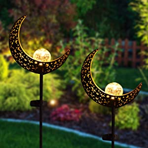Joiedomi Moon Crackle Glass Globe Metal Solar Yard Garden Stake Lights 2 Pack, Pathway Outdoor Stake Lights, Waterproof for Walkway, Pathway, Yard, Lawn, Patio or Courtyard