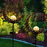 Joiedomi 2 Pack Moon Crackle Glass Globe Metal Solar Yard Garden Stake Lights, Pathway Outdoor Stake Lights, Waterproof for W