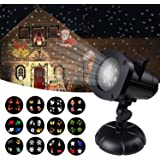 Christmas Light Projector, CHERI Waterproof Decorations Outdoor LED Light White Moving Snowflake Lamp Laser for Landscape Garden Holiday Party