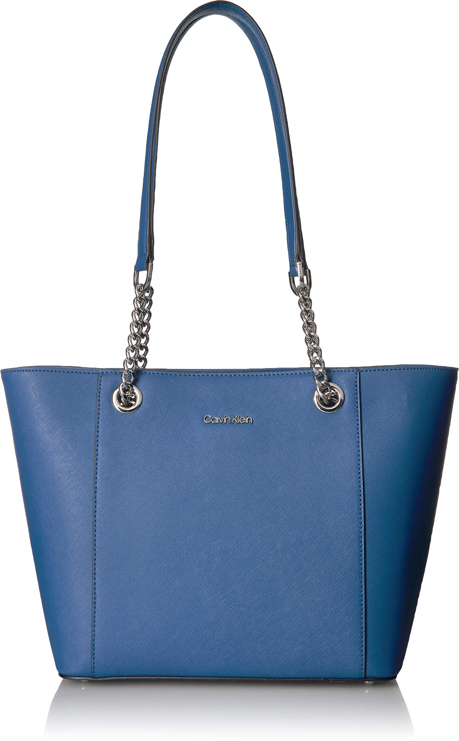 Calvin Klein Hayden Saffiano Leather East/West Top Zip Chain Tote, seaport
