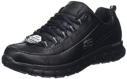 Skechers Sure Track-Trickel, Zapatos de Seguridad para Mujer, Negro (Blk)
