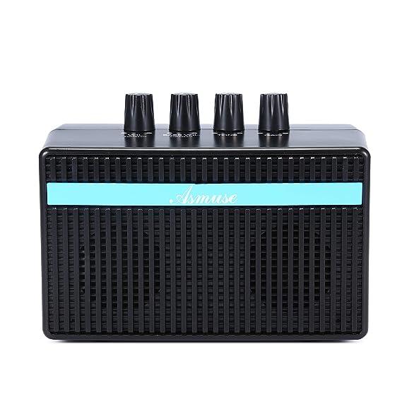 AsmuseTM 3W Mini Amplificador Combo para guitarras Bajo Eléctrico Instrumentos Amp con efecto de Distorsión y USB Recargable 5V: Amazon.es: Instrumentos ...