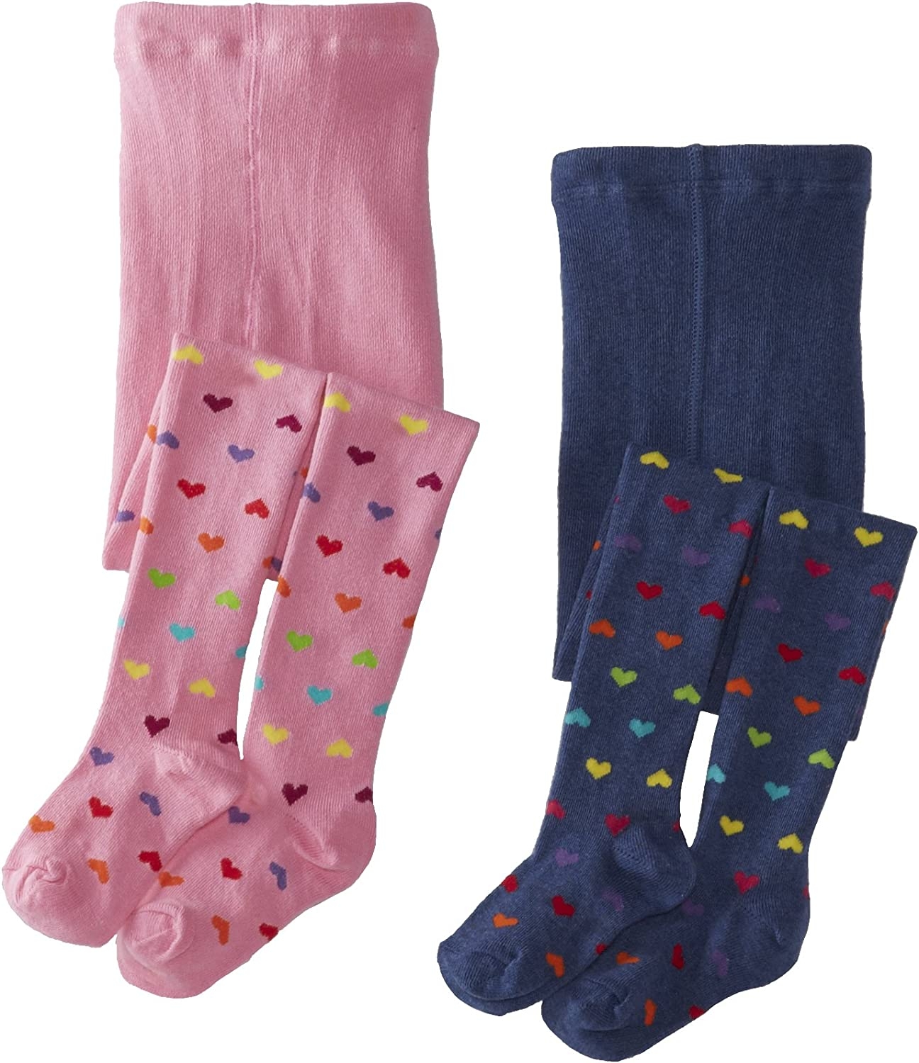 Country Kids Denim Stripe//Dot 2 Pack Girls Tights Size 1-3 Years