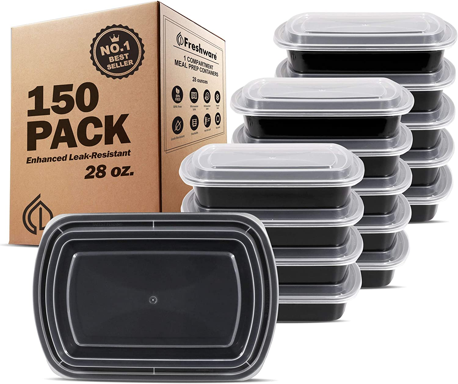300pcs Meal Prep Reusable Leakproof Microwaveable 28oz Food Containers 150 Sets