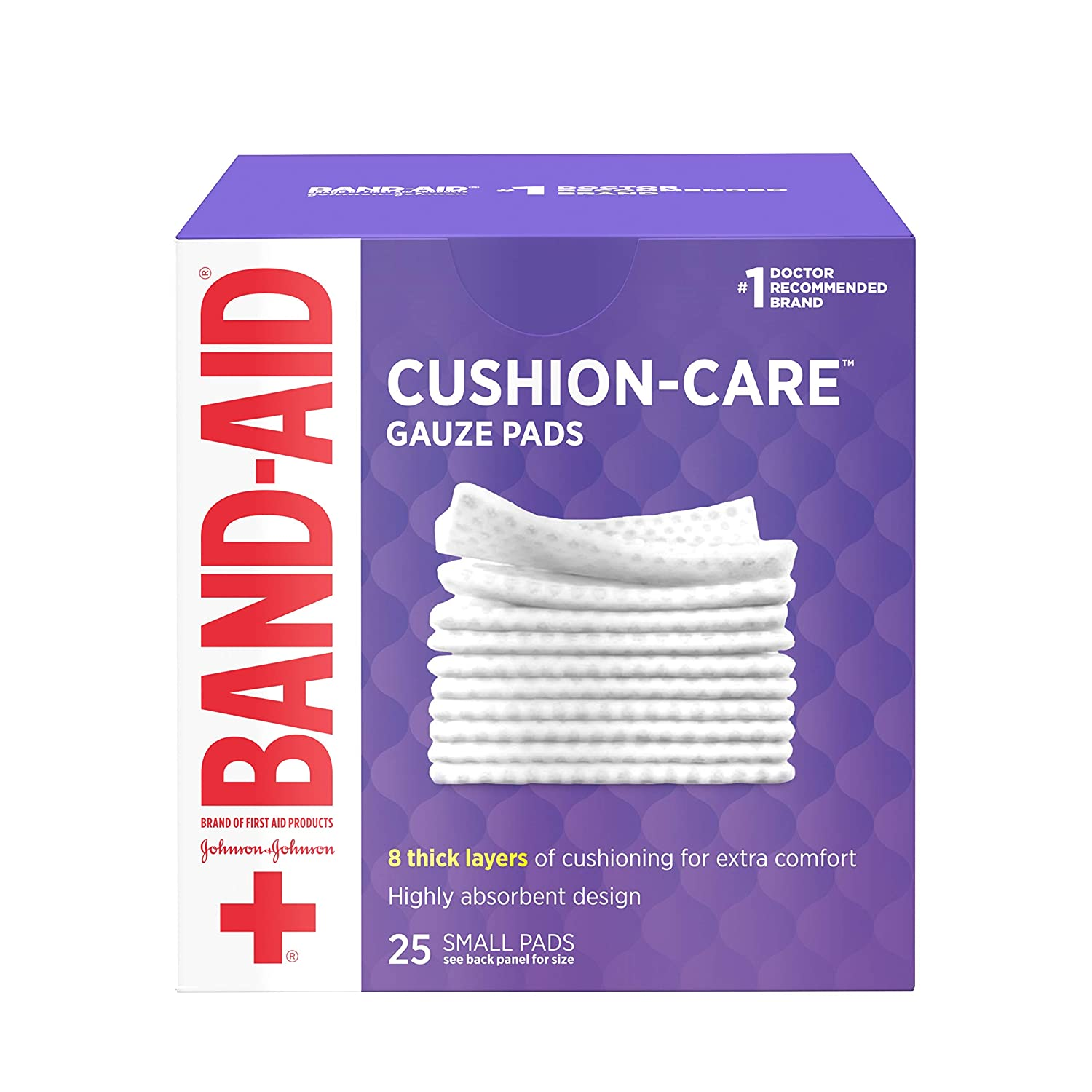 Band-Aid Brand Cushion Care Sterile Gauze Pads for Protection of Minor Cut, Scrapes & Burns, Non-Adhesive & Wound Care Dressing Pads, Small Size, 2 inches x 2 inches, 25 ct
