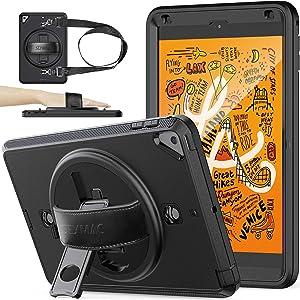 SEYMAC stock Case for iPad Mini 5/Mini 4, Full-Body [Drop Proof] Case with [360 Degrees Rotating Stand] & 360 Hand Strap [Screen Protector] [Pencil Holder] for iPad Mini 5th 2019/Mini 4th 2015 - Black