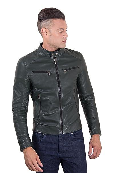 b9a6ce20e Hamilton - Green Vintage Effect Lamb Leather Jacket Four Pockets ...
