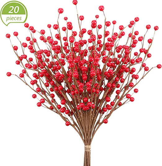 Artificial Fir pick twig green x6 christmas faux flowers
