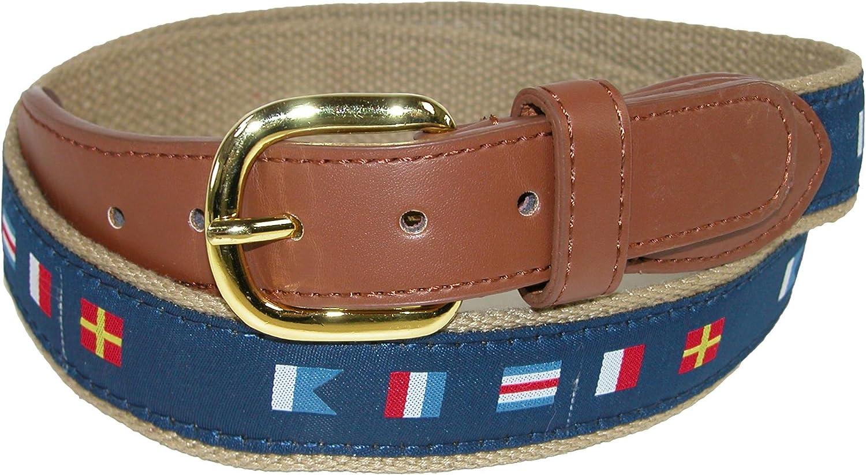 CTM - Cinturón de tela tejida para hombre con banderas de señal náutica Azul azul marino 85: Amazon.es: Ropa y accesorios