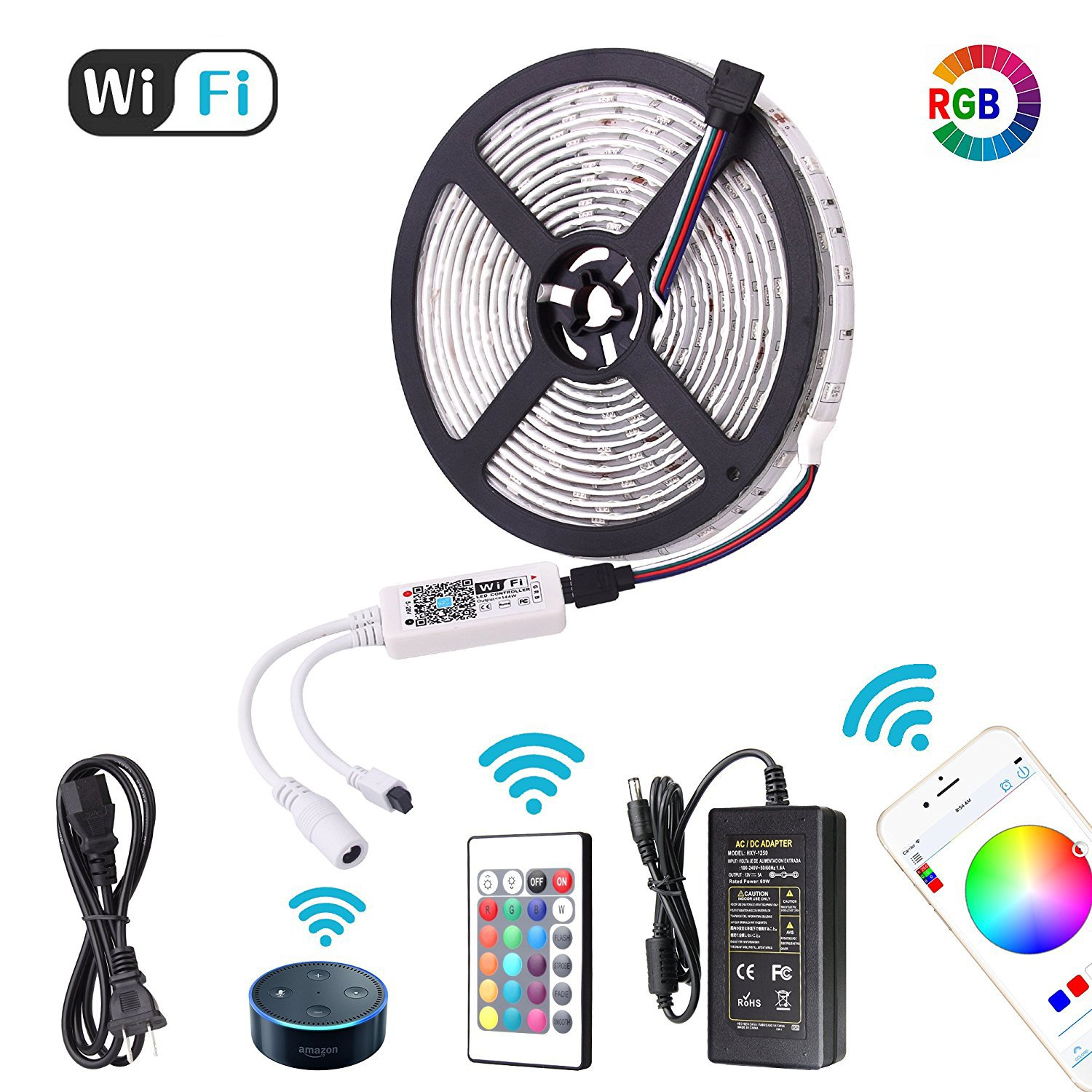 2018 New Targher Smart Led Strip Lights Wifi and Wireless Smart Phone Controlled RGB Led Light Strip Kit 16.4ft 5M 5050 Waterproof IP65 12V5A Power Supply Flexible Working with Android IOS and Alexa