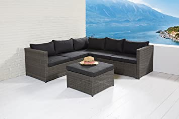 Gartenmöbel set lounge grau  Amazon.de: Wholesaler GmbH Barcelona Lounge-Set Sitzgruppe Grau ...