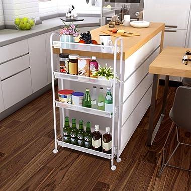Lifewit 4-Tier Rolling Cart Slim Storage Cart Narrow Kitchen Cart Mesh Wire Metal Wheels Gap Kitchen, Bathroom Slim Storage Rack