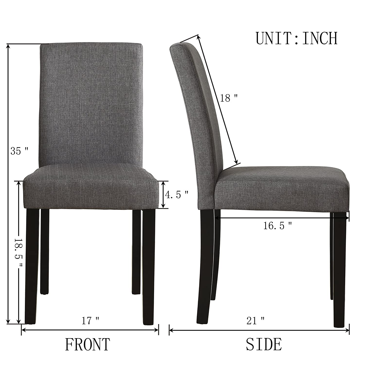 Set of 4 Modern Fabric Upholstered Dining Chairs Elegant Design Dining Room Chairs Gray Set of 4