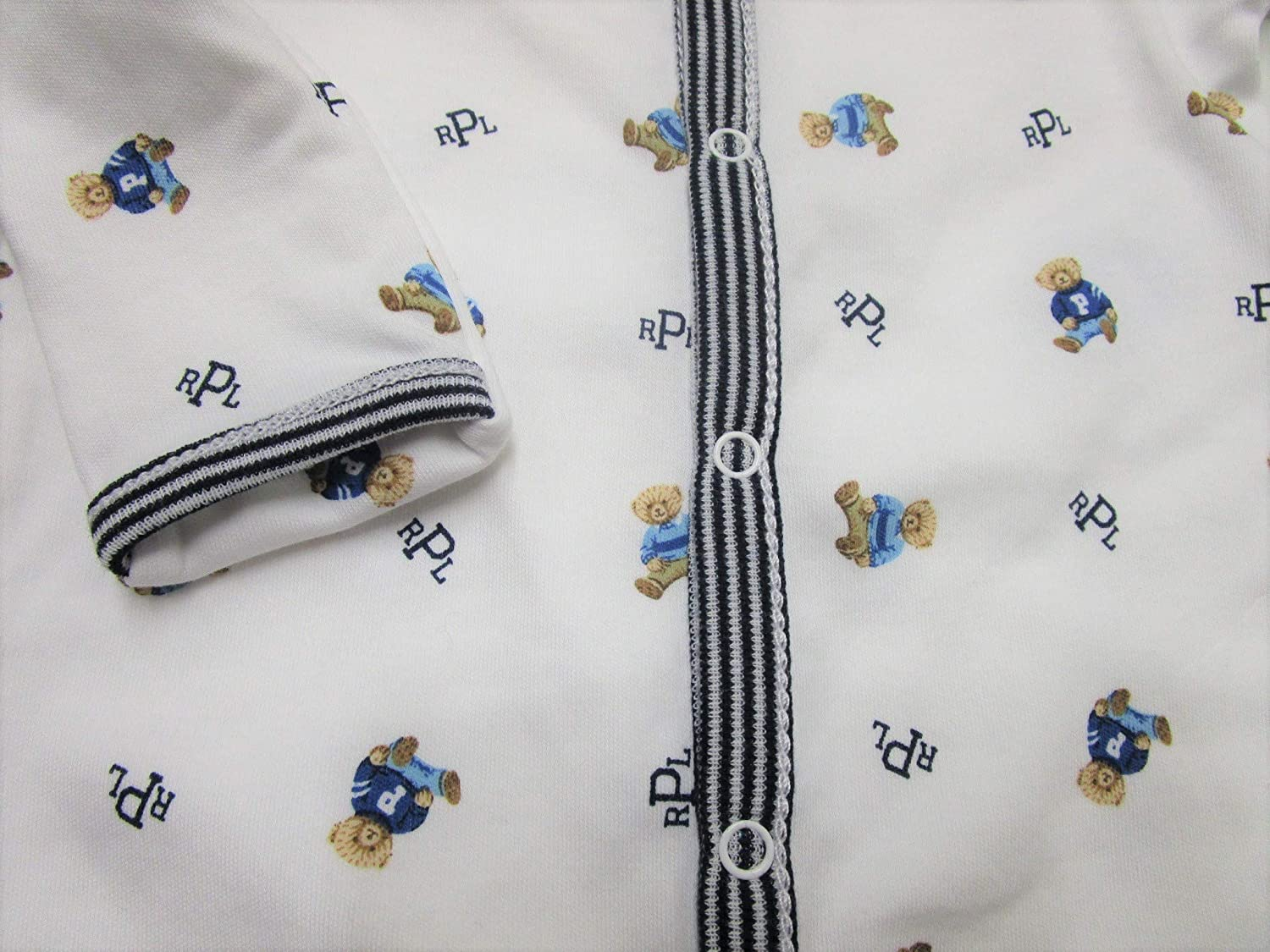 Ralph Lauren Baby Boys Bear-Print Cotton Footed Coverall White Multi
