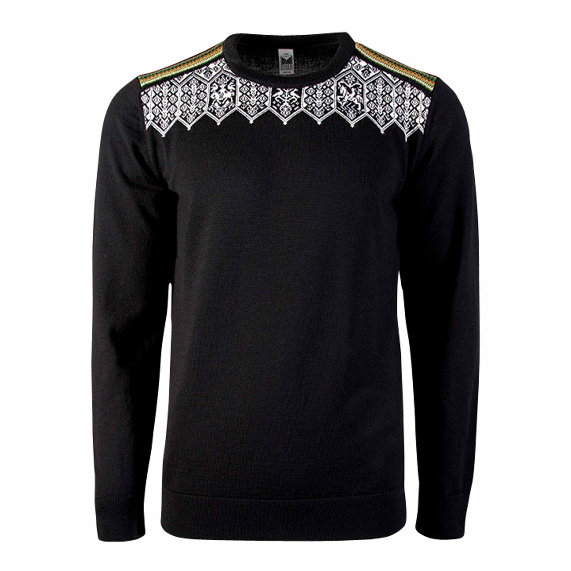 Dale of Norway Men's Lillehammer Masculine Sweater, Black/Orange Peel/Off White/Spring Green, Large