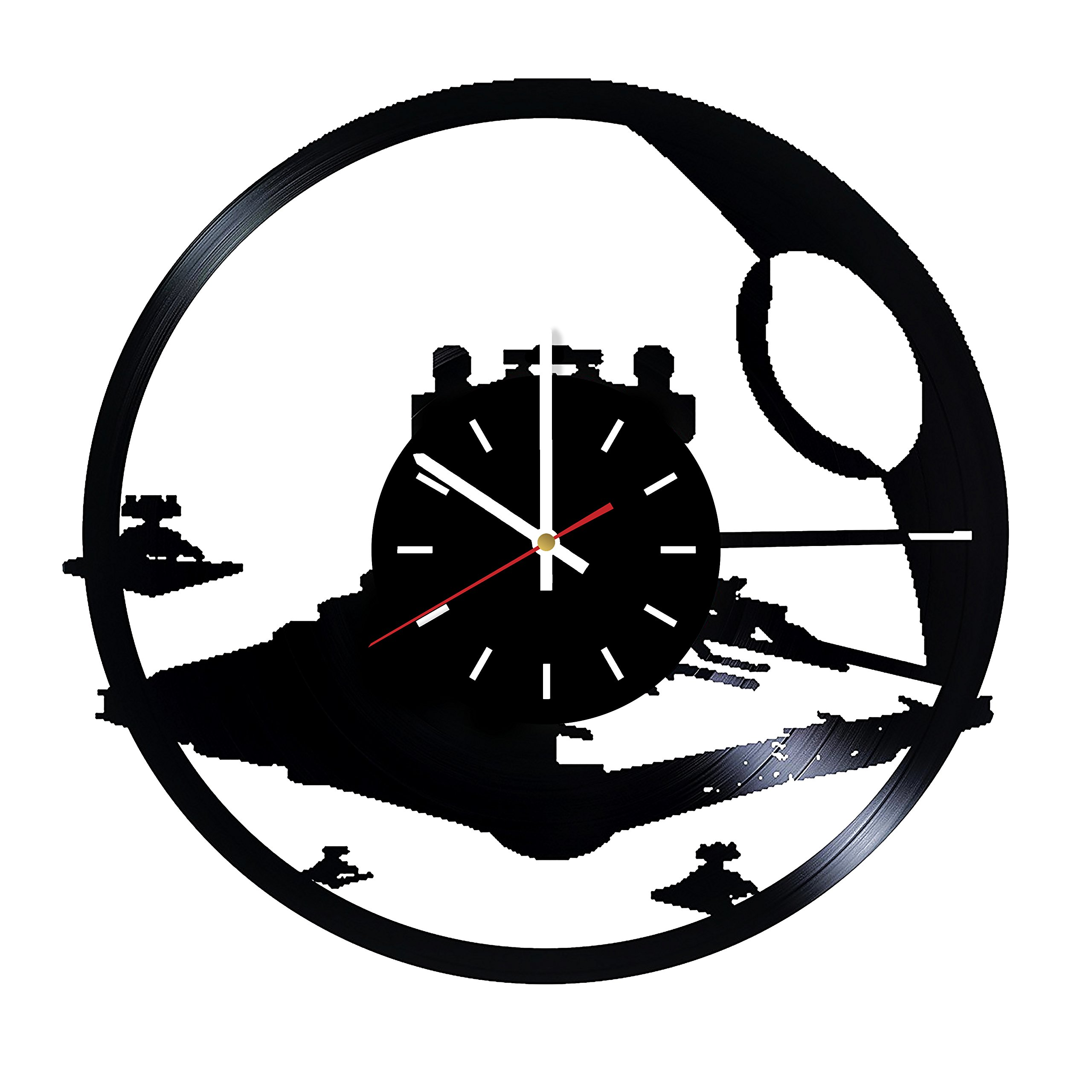 Everyday Arts Star Wars Spaceship Silhouette Design Vinyl Record Wall Clock - Get Unique Bedroom or Garage Wall Decor - Gift Ideas for Friends, Brother - Darth Vader Unique Modern Art