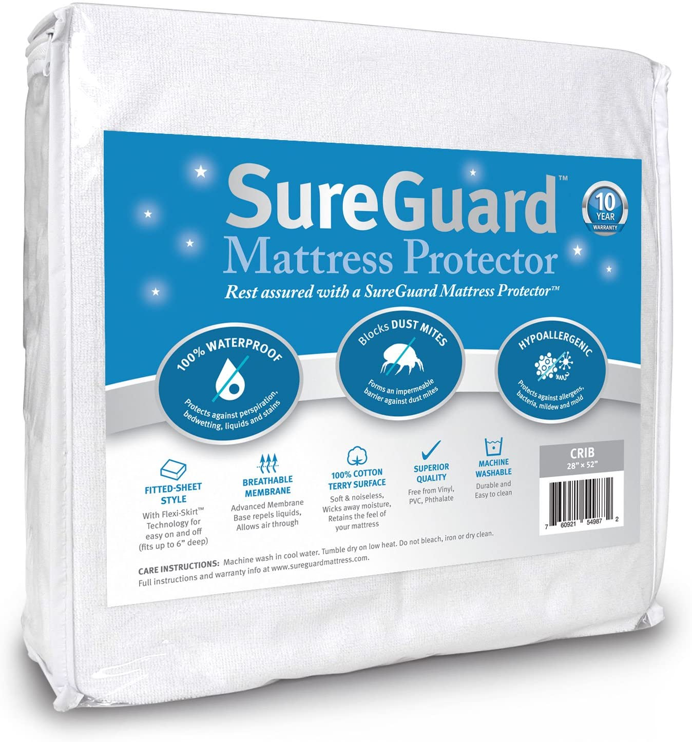10. Crib Size SureGuard Mattress Protector - 100% Waterproof, Hypoallergenic