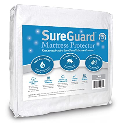 Crib Size SureGuard Mattress Protector - 100% Waterproof, Hypoallergenic - Premium Fitted Cotton Terry Cover