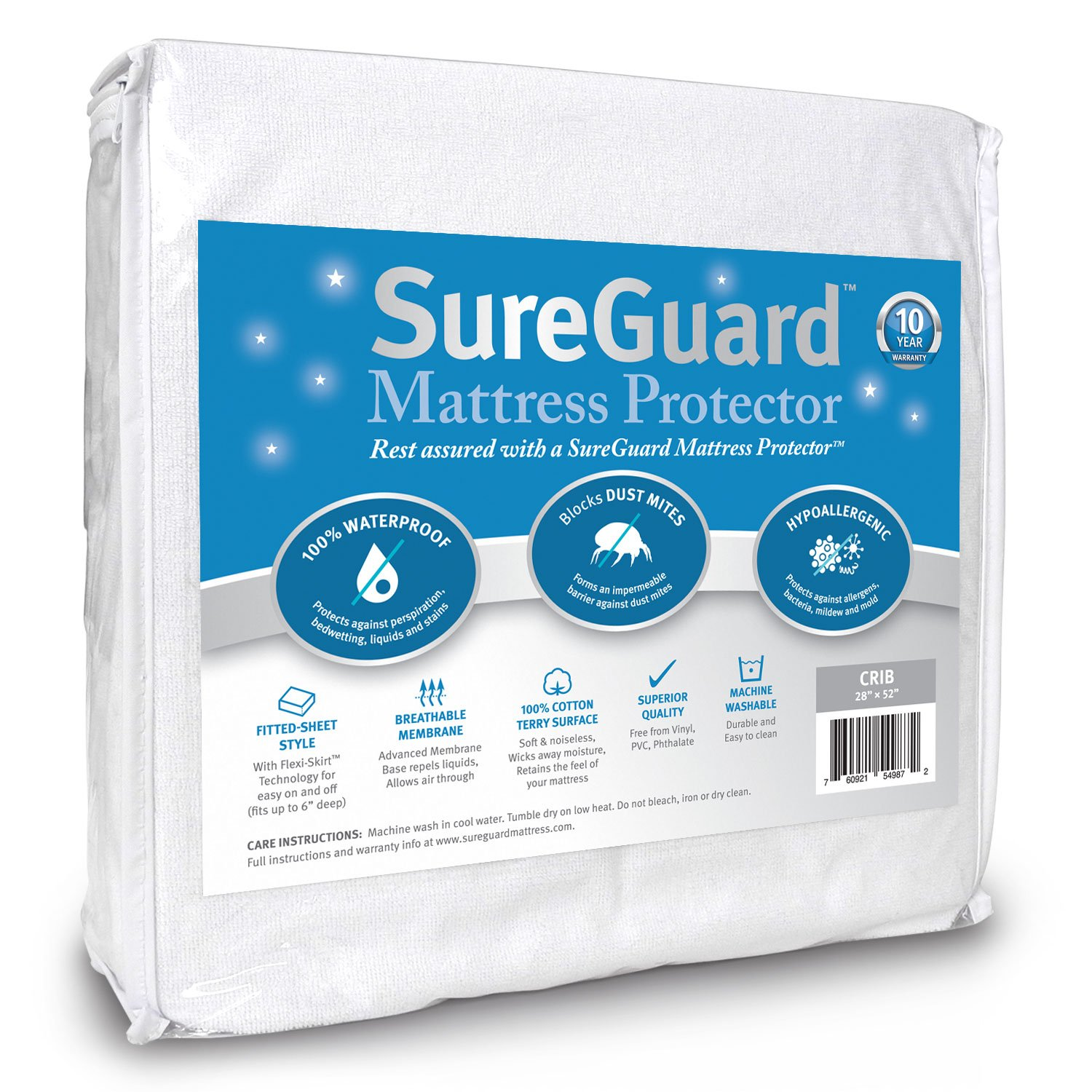 SureGuard Mattress Protectors Crib Size 100% Waterproof, Hypoallergenic - Premium Fitted Cotton Terry Cover - 10 Year Warranty