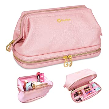 95cce17766 Amazon.com   Gootus Leather Toiletry Bag for Women - Cosmetic Bag Skincare Makeup  Bags Waterproof Travel Kit   Beauty