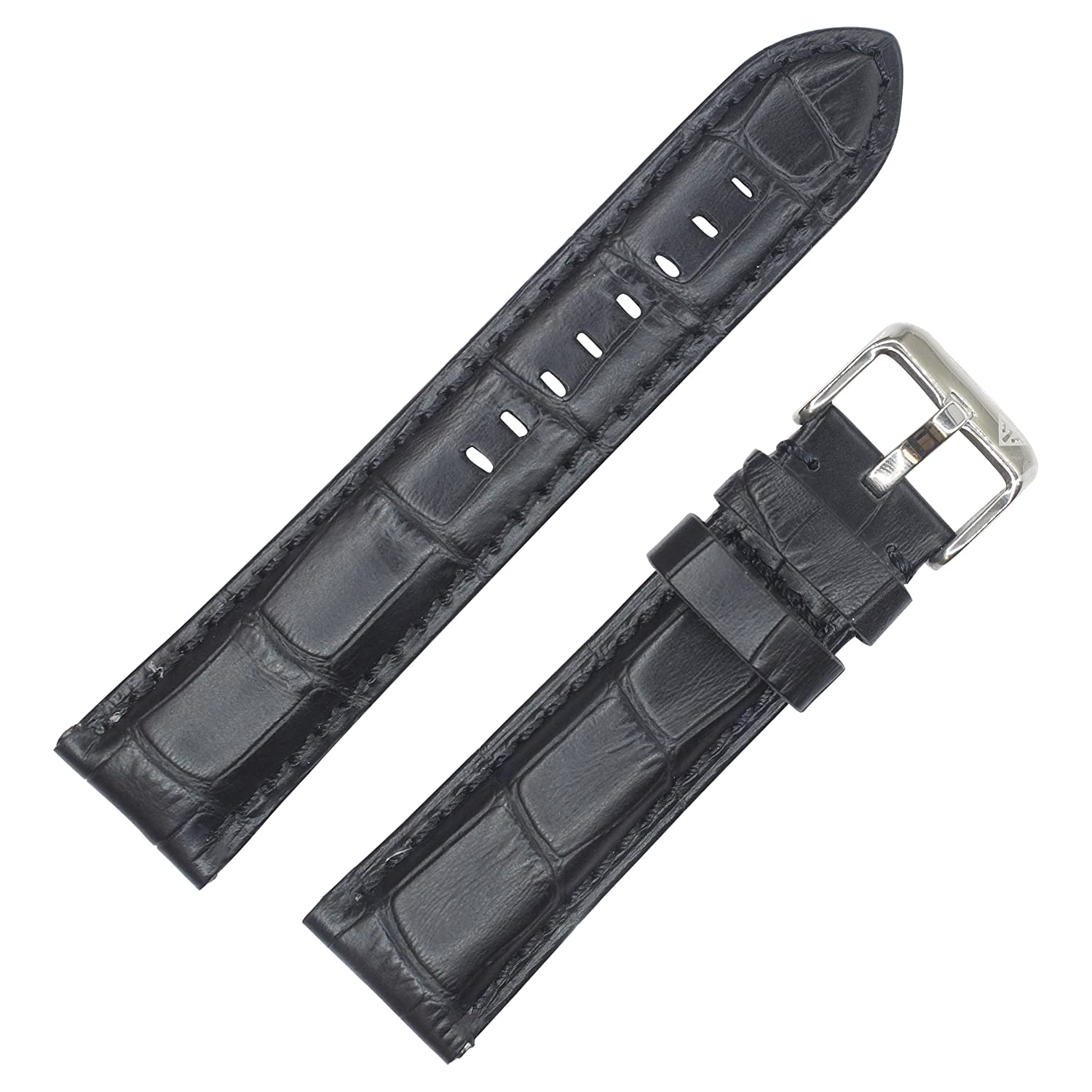 ブラッククロコダイルGrain純正leatherpadded Watch Band By Dakota 20mm ブラック 20mm   B06ZY8F1B5