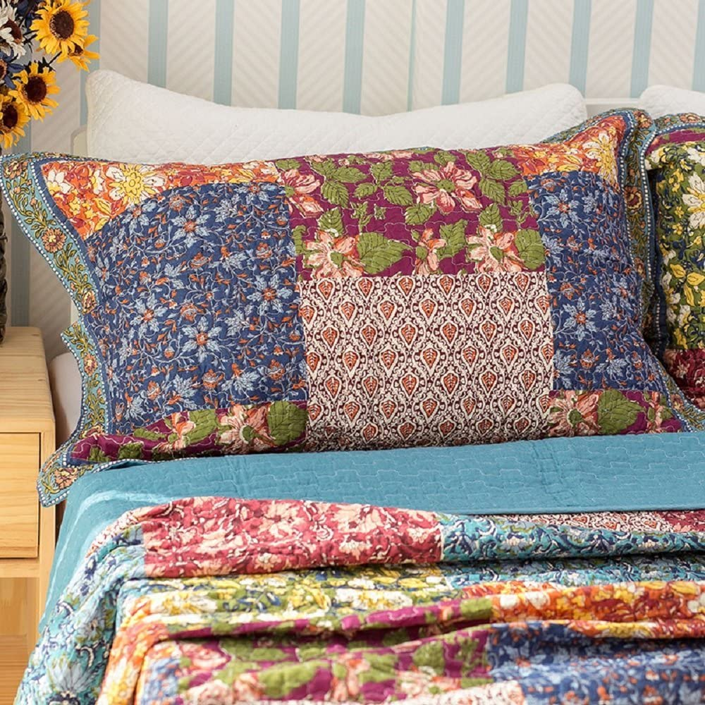 Shabby Chic Floral 3 Pieces Country Patchwork Bedspread Quilts Set Queen