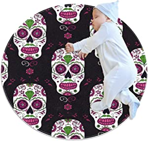 Area Rugs for Bedroom, Ultra-Luxurious Soft and Thick Non-Slip Carpet for Kids Baby Room, Nursery Modern Decor Rug 2.3Ft, Flower Sugar Skull Mexican Purple