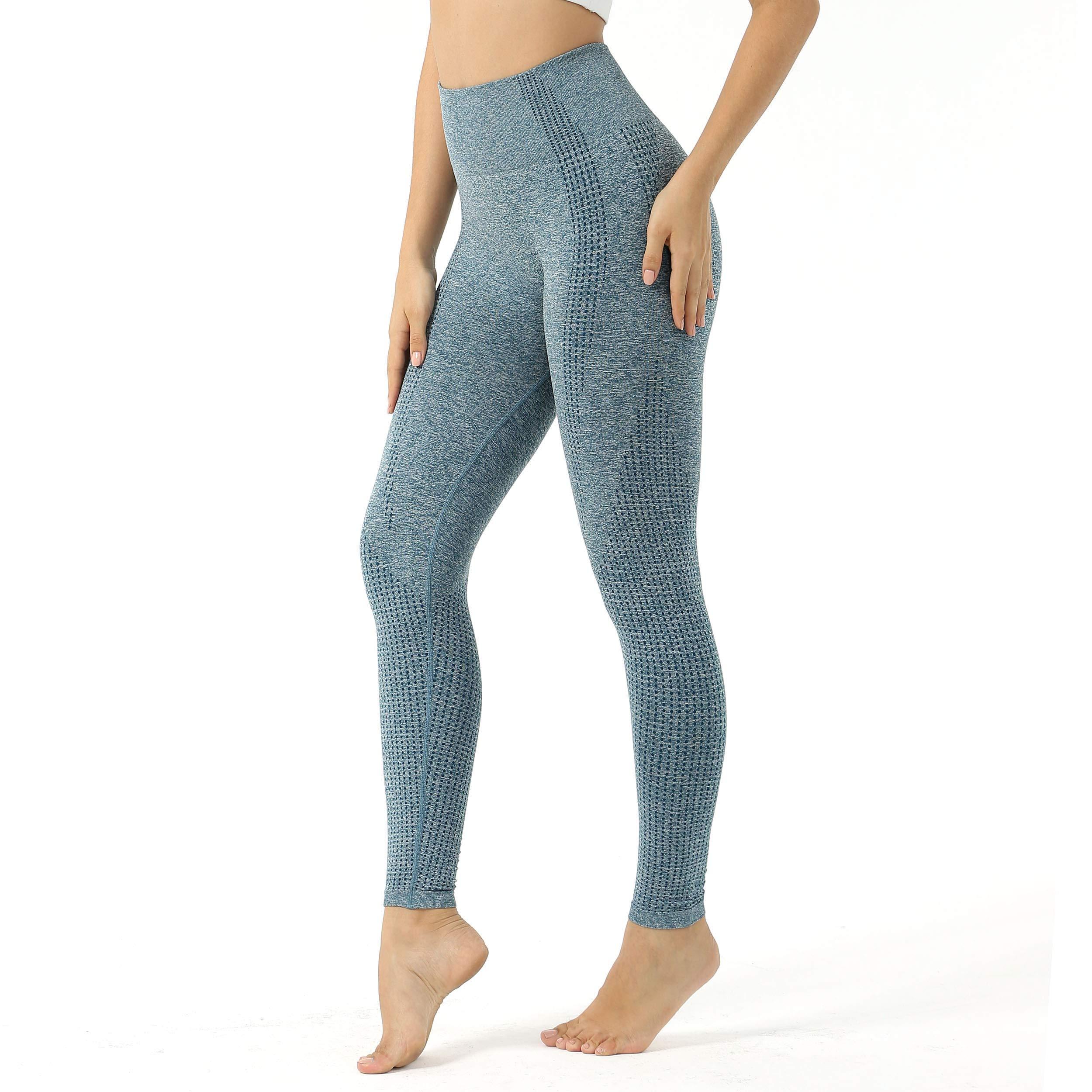 Aoxjox Women's High Waist Workout Gym Vital Seamless Leggings Yoga Pants (Marine Blue Marl, Small)