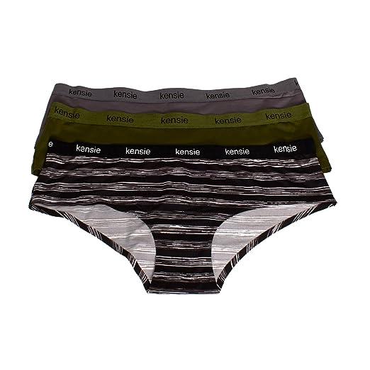 kensie Womens 3 Pack Seamless Hipster Boyshort Panties with Logo Waistband  Black b58f5b00de7