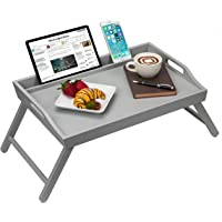 Rossie Home Media Bed Tray with Phone Holder - Fits up to 17.3 Inch Laptops and Most Tablets - Calming Gray - Style No…