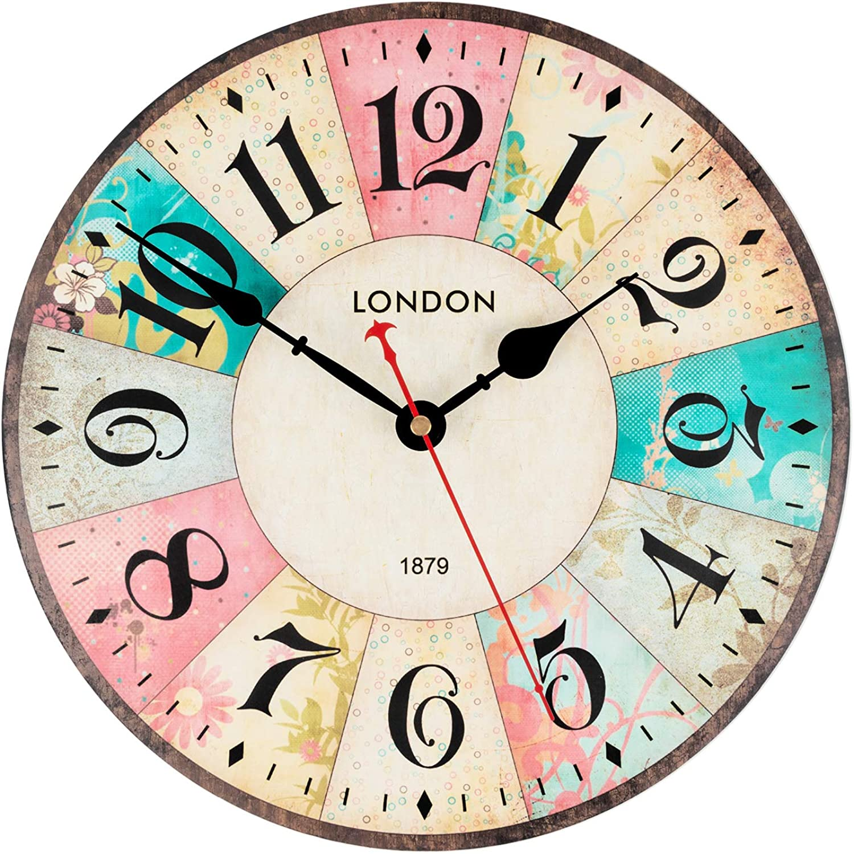 KI Store Silent Wall Clocks Non Ticking Large Round Vintage Rustic Decorative World Clock Ultra-Thin