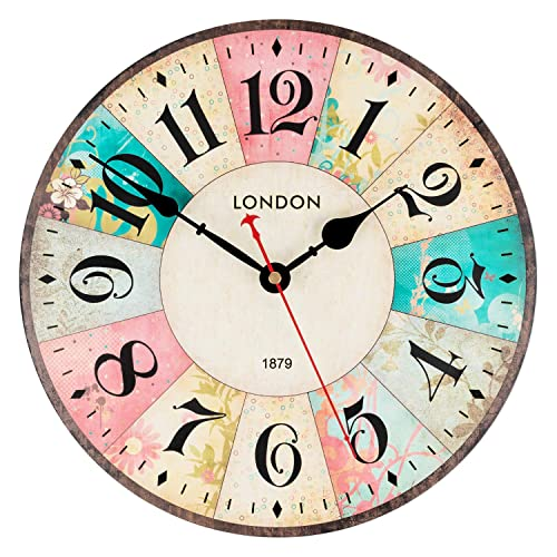 KI Store Wall Clocks Decorative Silent Non Ticking Pink Wall Clock Vintage Spring Floral 12 Inch