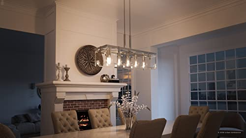 Luxury Modern Farmhouse Chandelier, Large Size 15.75 H x 36.75 W, with Industrial Chic Style Elements, Brushed Nickel Finish and Clear Shade, UHP2441 from The Bristol Collection by Urban Ambiance
