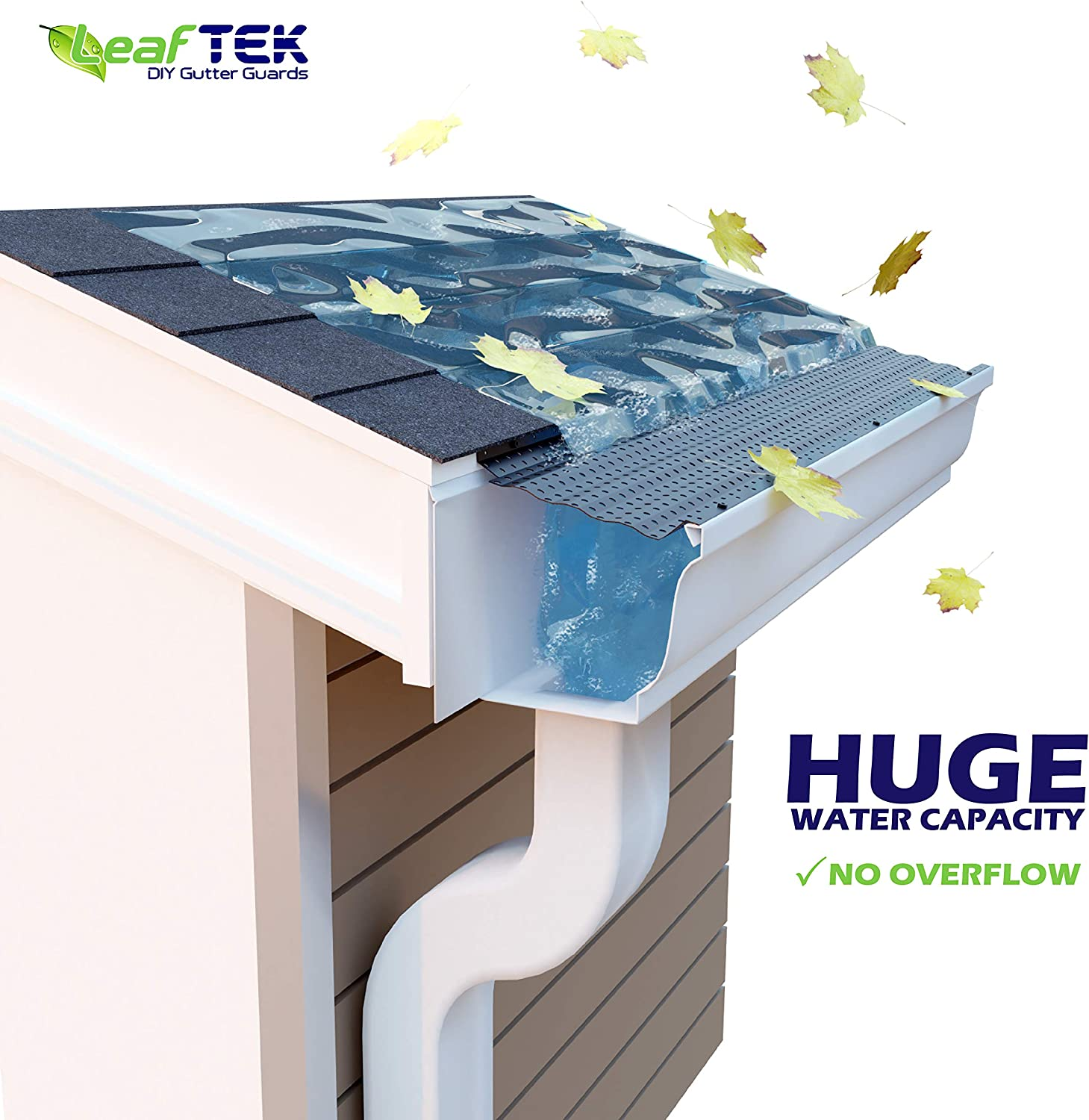 LeafTek 6 x 200 Gutter Guard Leaf Protection 32//100//200 Available in 5 or 6 Inch White or Black DIY Premium Contractor Grade 35 Year Aluminum Covers